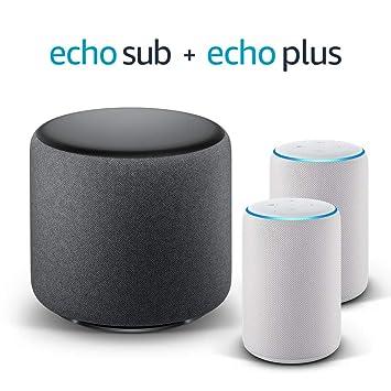 Echo Plus Stereo System – 2 Echo Plus (2.ª generación), Tela de color gris claro + 1 Echo Sub
