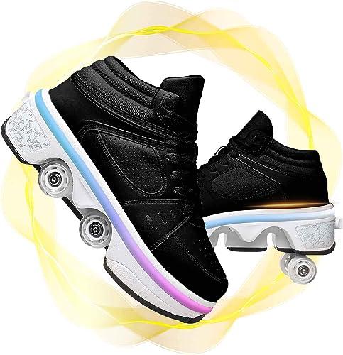LLH Schuhe Mit Rollen Kinder Skateboard Schuhe Roller Skate Schuhe Sportschuhe Mit Rollen F/ür M/ädchen Jungen,Schwarz-31