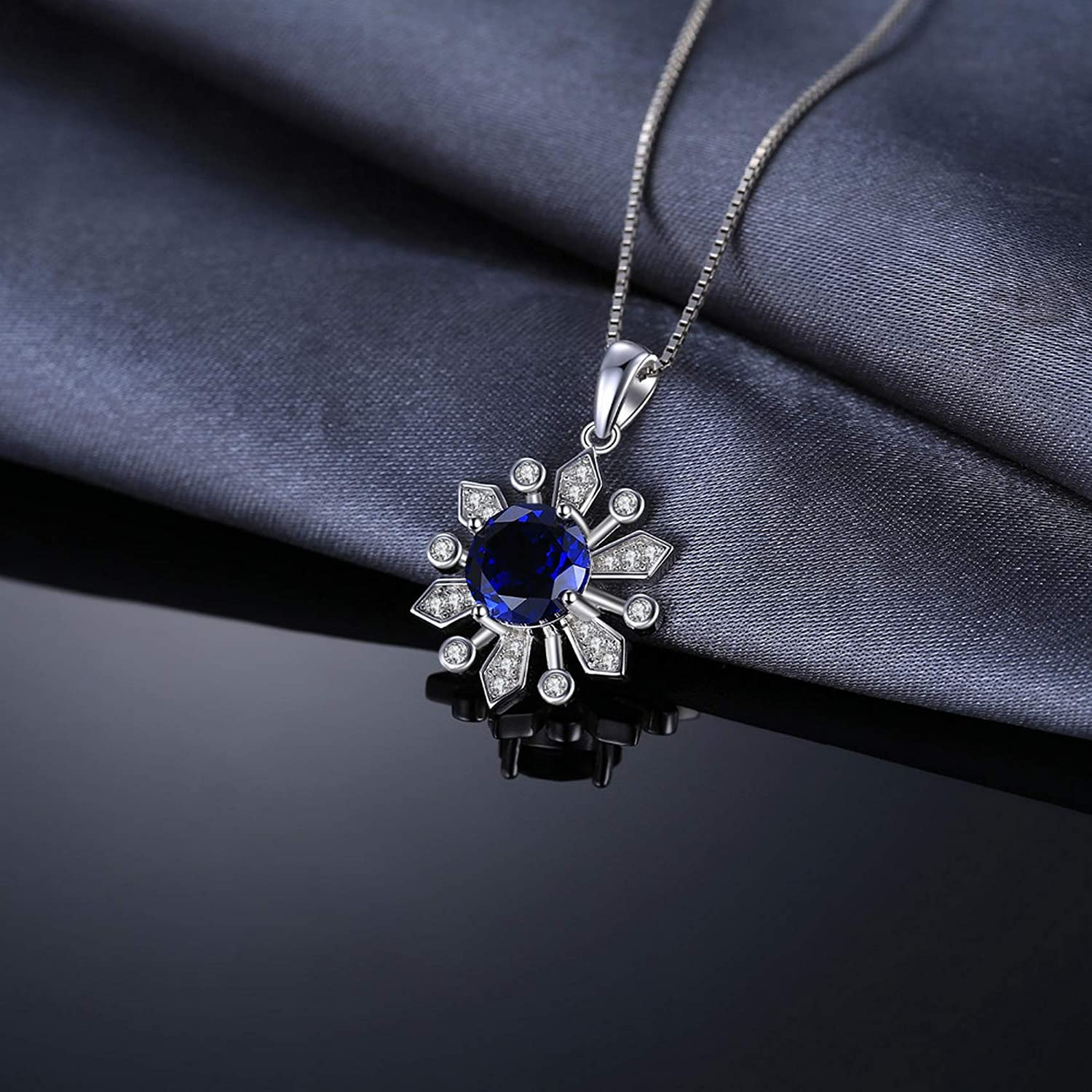 MMC Silver Pendants Chic Flower 3ct Round Vintage Sapphire Necklaces for Womens
