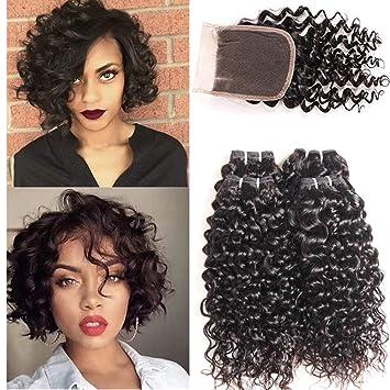 Yami 10a Short Water Wave Human Hair 4 Bundles with 4 quot  4 quot  Lace  Closure d5c2db0b7