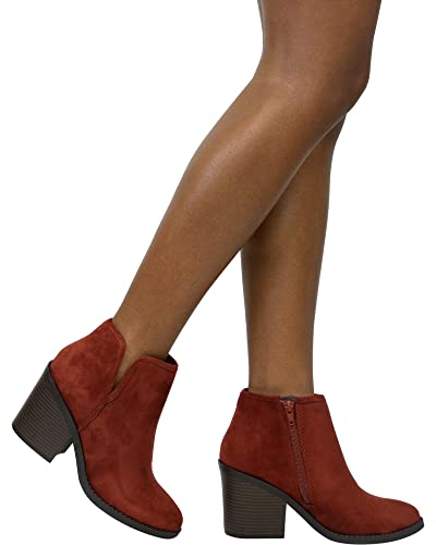 Women's Faux Suede V Side Cut Stack Block Heel Ankle Boot