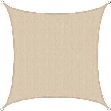 AMANKA Voile d\'ombrage en PE-HD toile carrée de jardin 3x3m pour faire  ombre couverture respirant perméable Crème