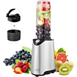 Aicok Personal Blender, Smoothie Maker, Stainless Steel Single Serve Blender, with Travel Lid and Tritan BPA Free Sport Bottle, 300W, Silver