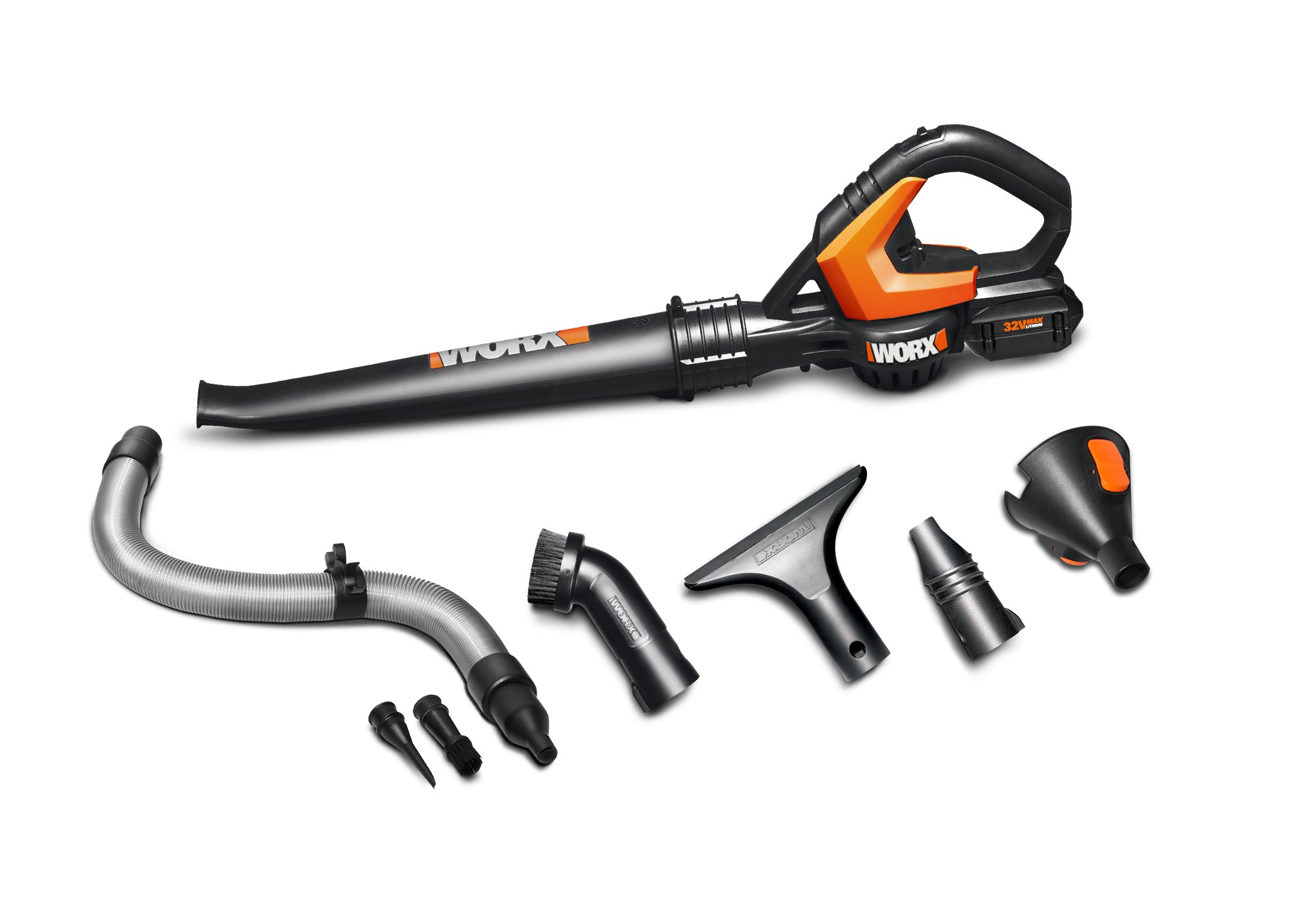 WORX 32V 2.0AH Battery + Charger Included AIR Multi-Purpose Blower/Sweeper/Cleaner with 120 MPH / 80 CFM Output, 4 lb. Weight, with 8 Attachments – WG575.1 by Worx