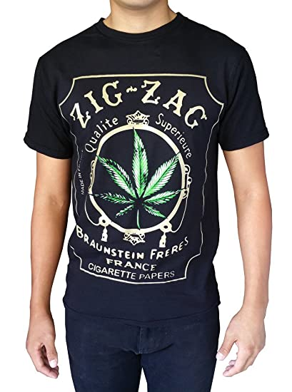 Gs-eagle Men's Printed Weed Marijuana Cigarette Graphic Design T-Shirts Small Black