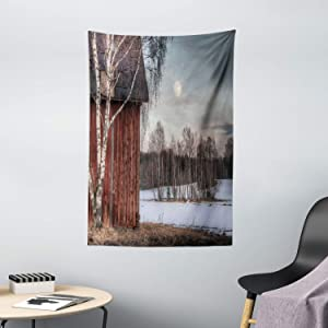 """Ambesonne Country Tapestry, Moonlight House Trees Winter Season View Barren Nature Themed Composition, Wall Hanging for Bedroom Living Room Dorm Decor, 40"""" X 60"""", Brown Beige"""
