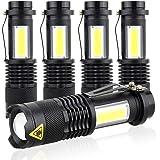 Ustopfire Mini Flashlights 5 Pack Ultra Bright 300 Lumens Portable Small LED Flashlight Lantern Adjustable Focus COB…
