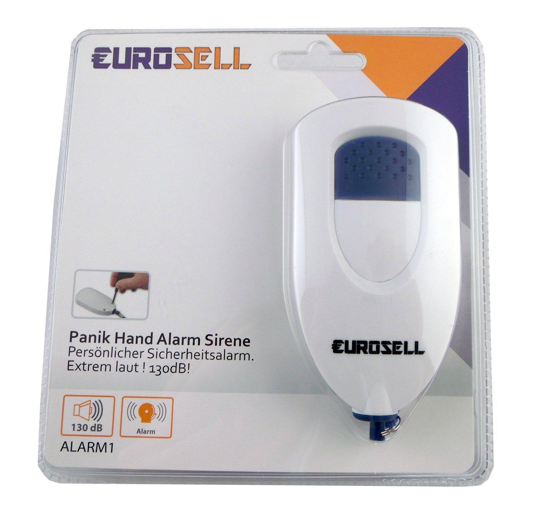 Eurosell Handtaschen Alarm Sirene Selbstverteidigung Überfall Camping Panik LKW PKW Handgerät Taschenalarm Knopf Sirene