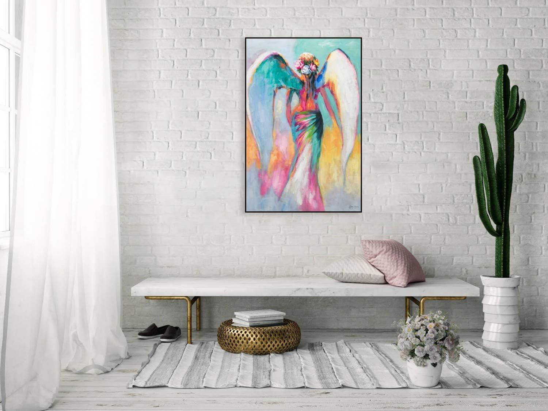 Modern Engel Blau Bunt original handgemalte Leinwand Bilder XXL Wandbild Acrylbild Moderne Kunst einteilig mit Rahmen KunstLoft/® Acryl Gem/älde Magie der L/üfte 80x120cm