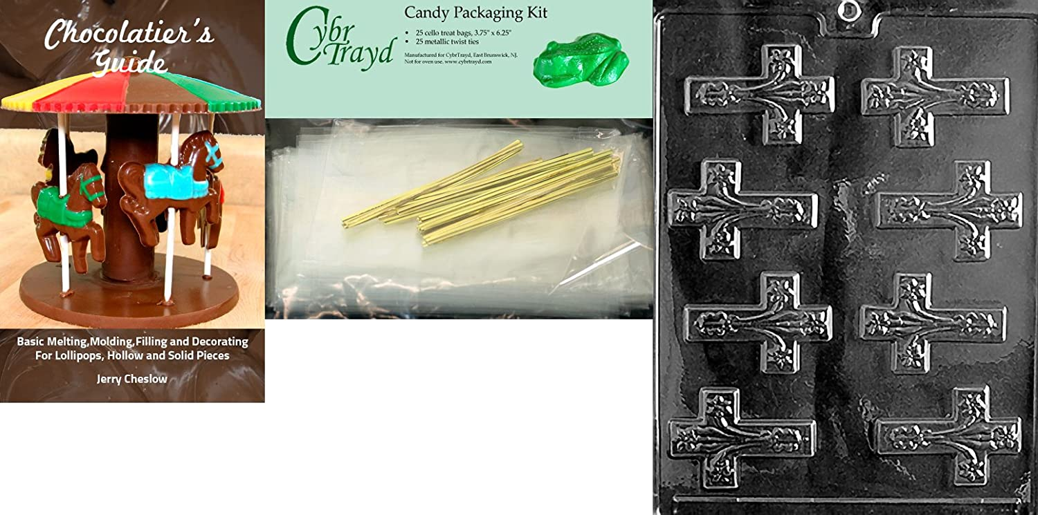 Includes 50 Cello Bags 50 Gold//Silver Twist Ties and Exclusive Cybrtrayd Copyrighted Chocolate Molding Instructions Cybrtrayd Ten Commandments Box Chocolate Candy Mold with Chocolate Packaging Bundle