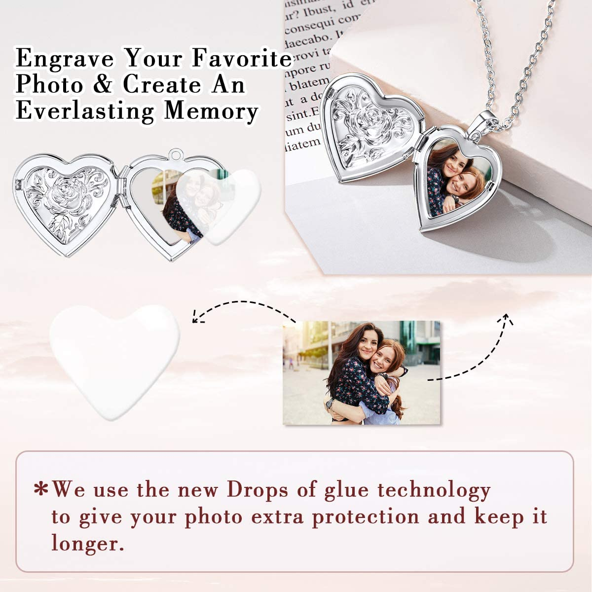relicarios de fotos personalizados que sostiene fotos FOCALOOK Collar con medall/ón de coraz/ón personalizado para mujer texto y s/ímbolos de cualquier foto