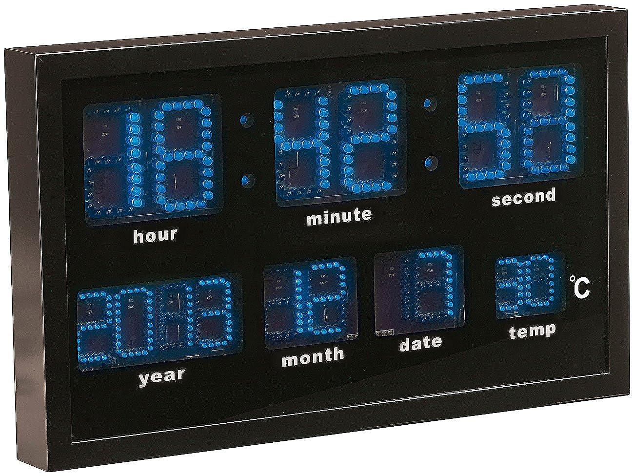 Lunartec LED Funk Wanduhren  Multi-LED-Funk-Uhr mit mit mit Datum und Temperatur, 412 blaue LEDs (Wanduhr Digital) 0cf455