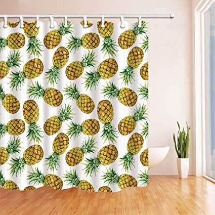Ashasds Tropical Fruit Shower Curtains Watercolor Exotic Pineapple For Kids Polyester Fabric Waterproof Bathroom