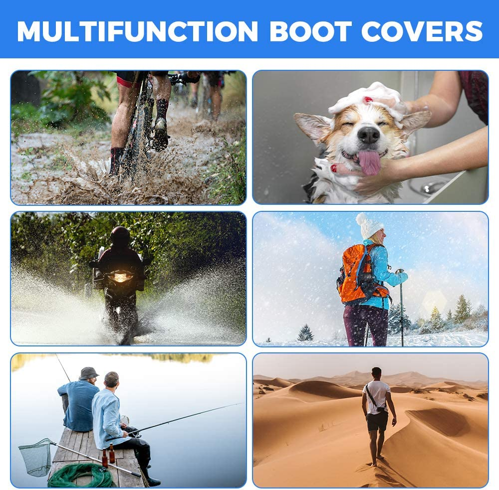 Rain Boot Covers Walking Waterproof Motorcycle Boots Cover for Men Size 7.5-8 Women 9-10 Anti-slip Rain shoe Cover with Reflective Strip Universal for Riding