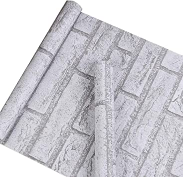 Grey White Brick Contact Paper Self Adhesive Peel And Stick Vinyl Wallpaper For Kitchen Bathroom Wall 17 7 Inches By 32 Feet