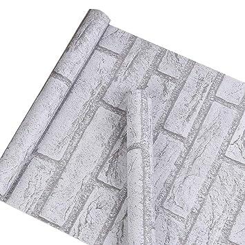 Autocollant Gris Blanc Brique Contact Papier Vinyle Peel And Stick