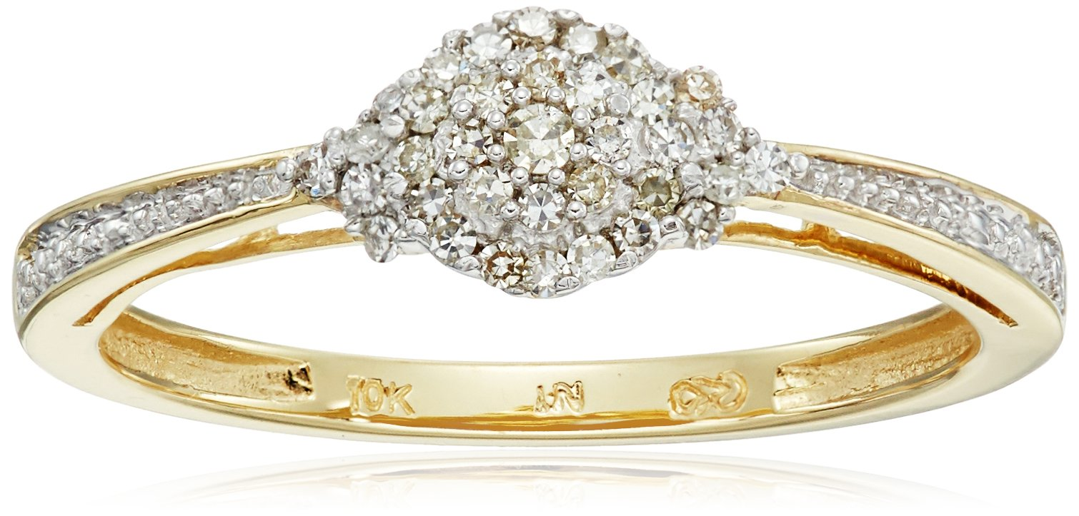 10k Yellow Gold White Diamond Ring (1/10cttw, H-I Color, I2-I3 Clarity), Size 8
