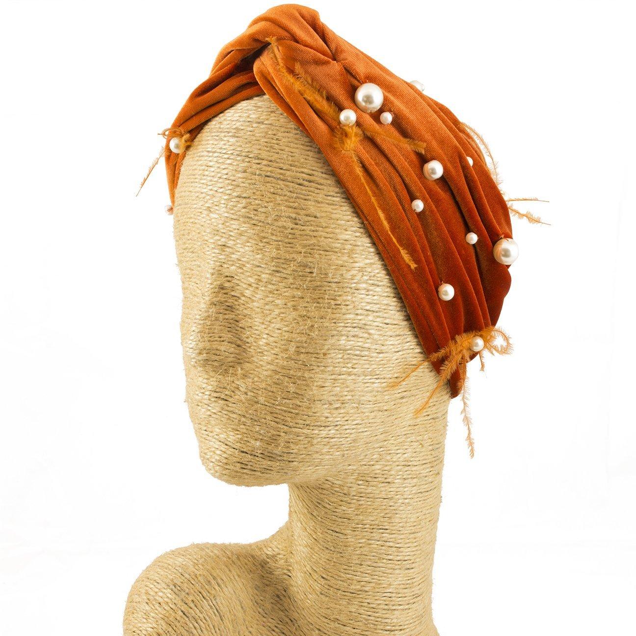 Fascinator, Velvet Headbands, Millinery, Worldwide Free Shipment, Delivery in 2 Days, Customized Tailoring, Designer Fashion, Pearl, Head wrap, Boho Accessories, Orange, Beaded Headbands, Jewelled