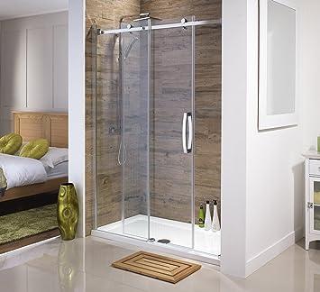 Orca sin Marco para mampara de ducha de deslizante para recovecos | Todos los tamaños | De alta calidad 8 mm con vidrio de seguridad templado fácil de limpiar revestimiento (1700 mm):