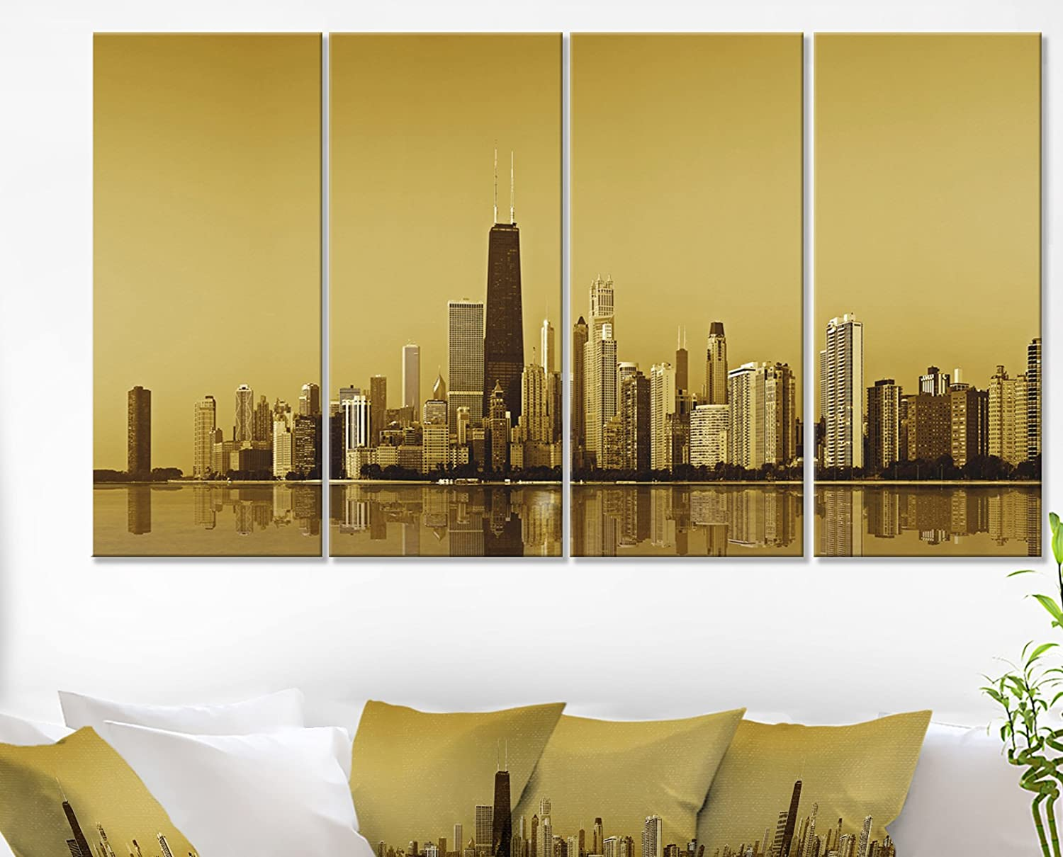 Amazon.com: Designart Chicago Gold Coast with Skyscrapers ...