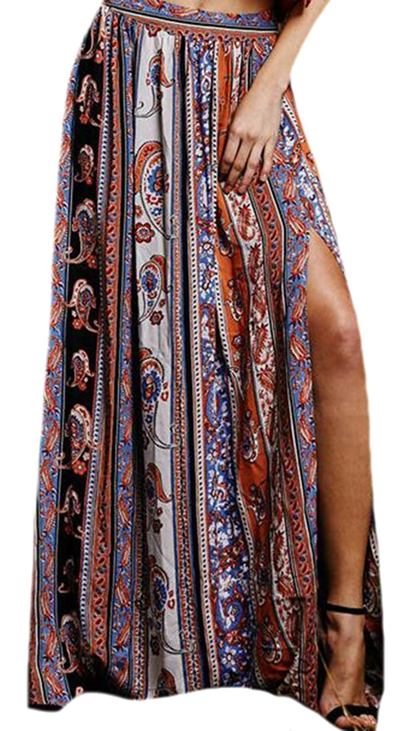 WANSHIYISHE Women Fashion Flower Print Slit BoHo Beach Long Skirt