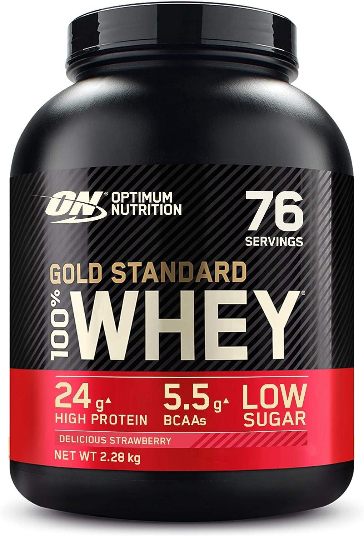 Optimum Nutrition Gold Standard 100% Whey Proteína en Polvo, Glutamina y Aminoácidos Naturales, BCAA, Fresa Deliciosa, 76 Porciones, 2.28kg, Embalaje ...