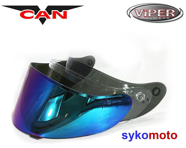 VCAN V127 HOLLOW BLUE MOTORCYCLE FULL FACE PINLOCK READY HELMET IRIDIUM VISOR