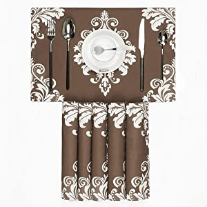 BRAWARM Placemats Set of 6 for Dining Table Damask Floral Table Mats Manual Hand Painted Washable Place Mats for Kitchen Table 12 X 18 Inches Coffee