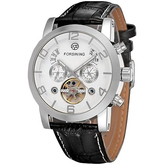 forsining reloj tourbillon de cuero marca muñeca automático para hombre fsg165 m3s3: Amazon.es: Relojes