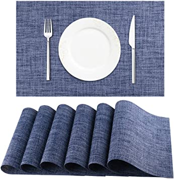 DACHUI Placemats Heat-Resistant Placemats Stain Resistant Anti-Skid Washable PVC Table Mats Woven Vinyl Placemats Blue Set of 6