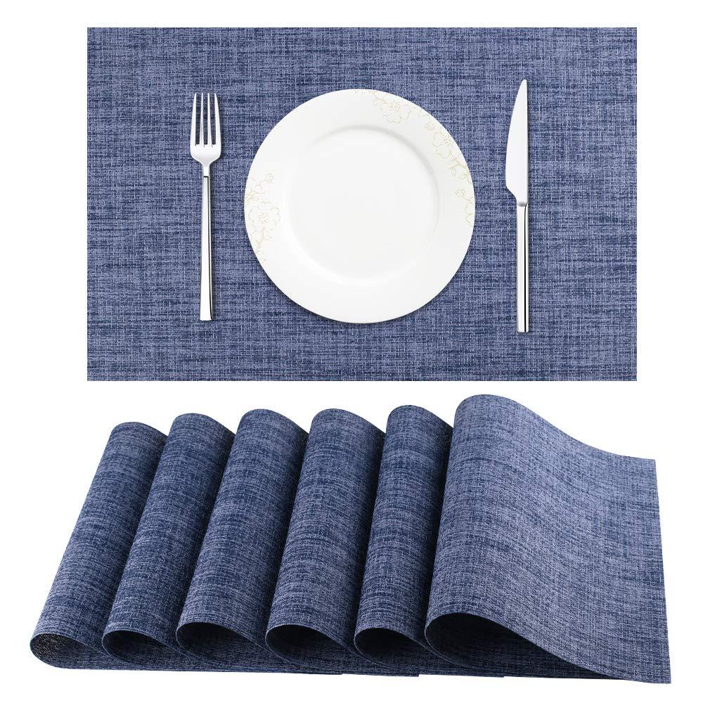 BETEAM Placemats, Heat-Resistant Placemats Stain Resistant Anti-Skid Washable PVC Table Mats Woven Vinyl Placemats, Set of 6(Blue)