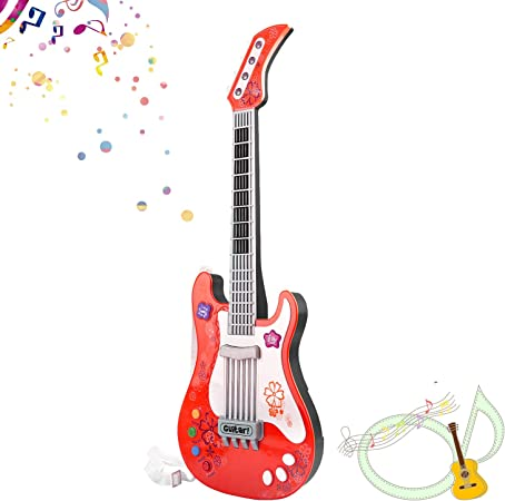 Children Guitar Toy Music Guitar 4 String LED Light Sound Brown