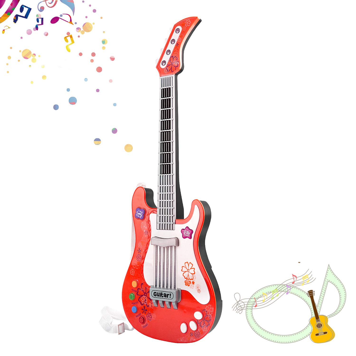 M SANMERSEN Toy Guitar for Girls Boys, Electric Guitars Toys for Kids Music Instruments Party Favor Party Decorations Guitar Toys for Kids with Vibrant Sounds Xmas Gifts for Boys Girls