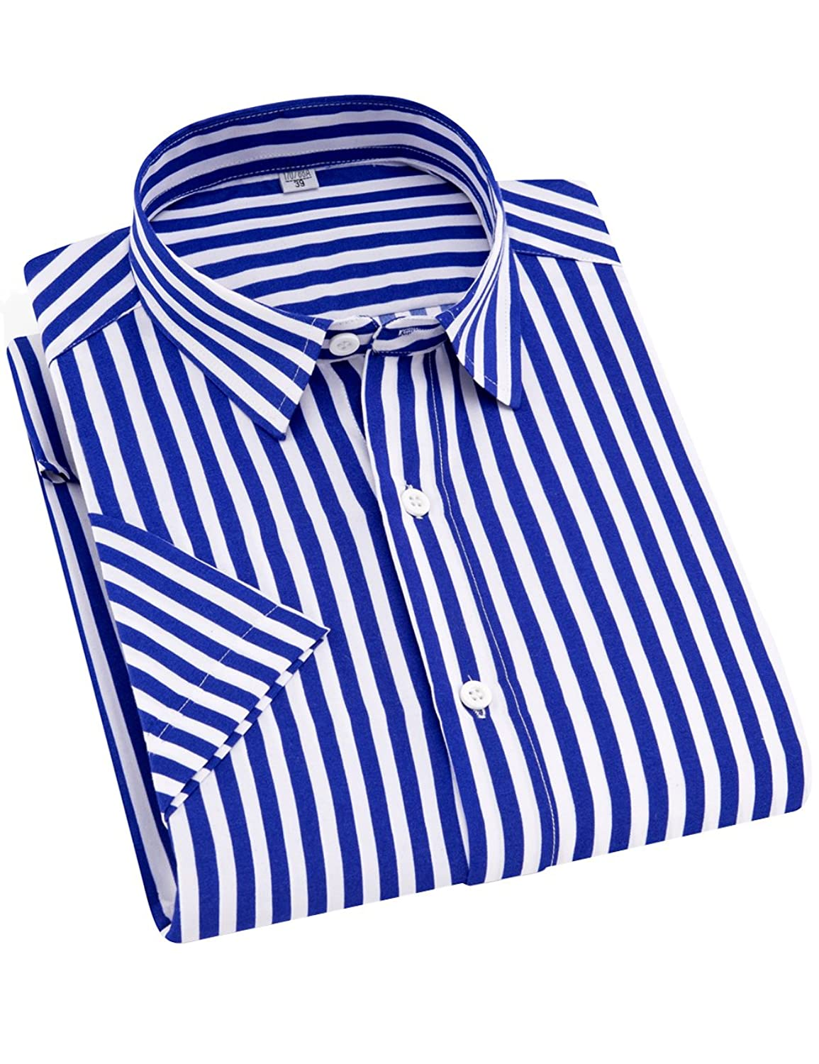 287f66af4 100% Cotton Stripe Fabric Imported STYLE:Mens Summer Fashion short Sleeve  Fitted Dress Shirts(Vertical Striped) FEATURE:This Stylish Men\'s Collared  Dress ...