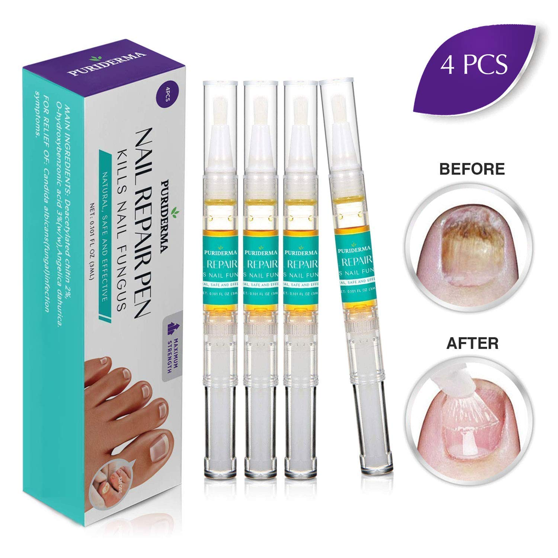 Puriderma Nail Repair Pen - Kills Anti-Fungus, Remove Discoloration, Prevent Future infection, Repair Brittle Finger Nails and Toe Nails, 4 Count