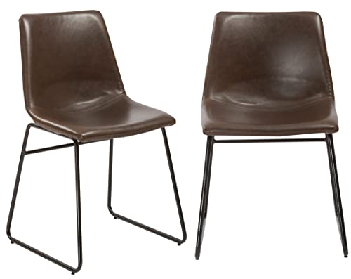 BTExpert Nura Upholstery Dining Chairs, Set of 2, Brown Rustic Style