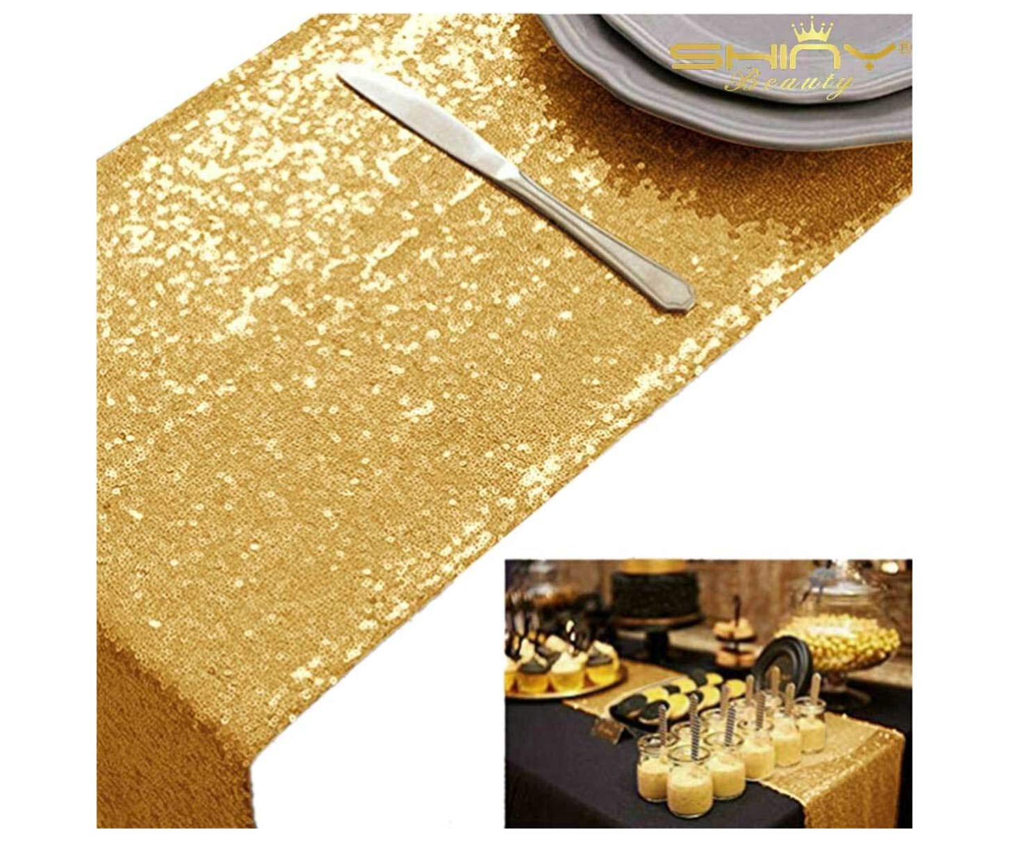 ShinyBeauty Table Covers for Party Gold 10pcs 12x72-Inch Sequin Table Runners Graduation Party Supplies 2018 Gold by ShinyBeauty