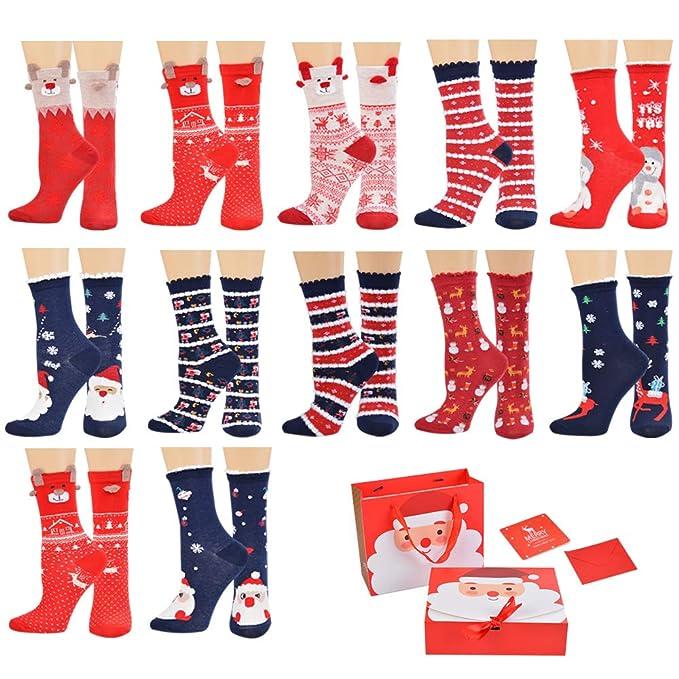 laamei Calcetines de Navidad para Mujeres, 1 Par de Calcetines Medias Navideñas de Algodón de Mujer Calcetines Térmicos Altos de Estilo Navideño ...