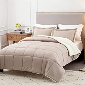 Bedsure Sherpa Comforter Set Full/Queen Khaki Winter 3 Piece Cationic Dyeing Reversible Soft Fluffy Down Alternative Bed Set with Pillow Sham, 88x88 inches