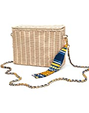 Luckyctc Straw Shoulder Bag, Women's Outdoor Crochet Shoulder Wicker Beach Bag Summer Straw Shoulder Bag for Beach, Travel or Daily use.