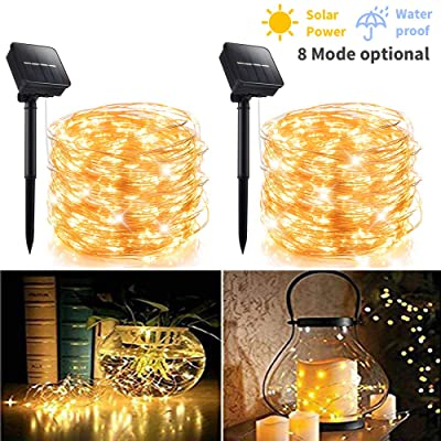 2 Pack 100 LED 8 Modes Copper Wire Waterproof Solar Fairy String Lights, Warm White