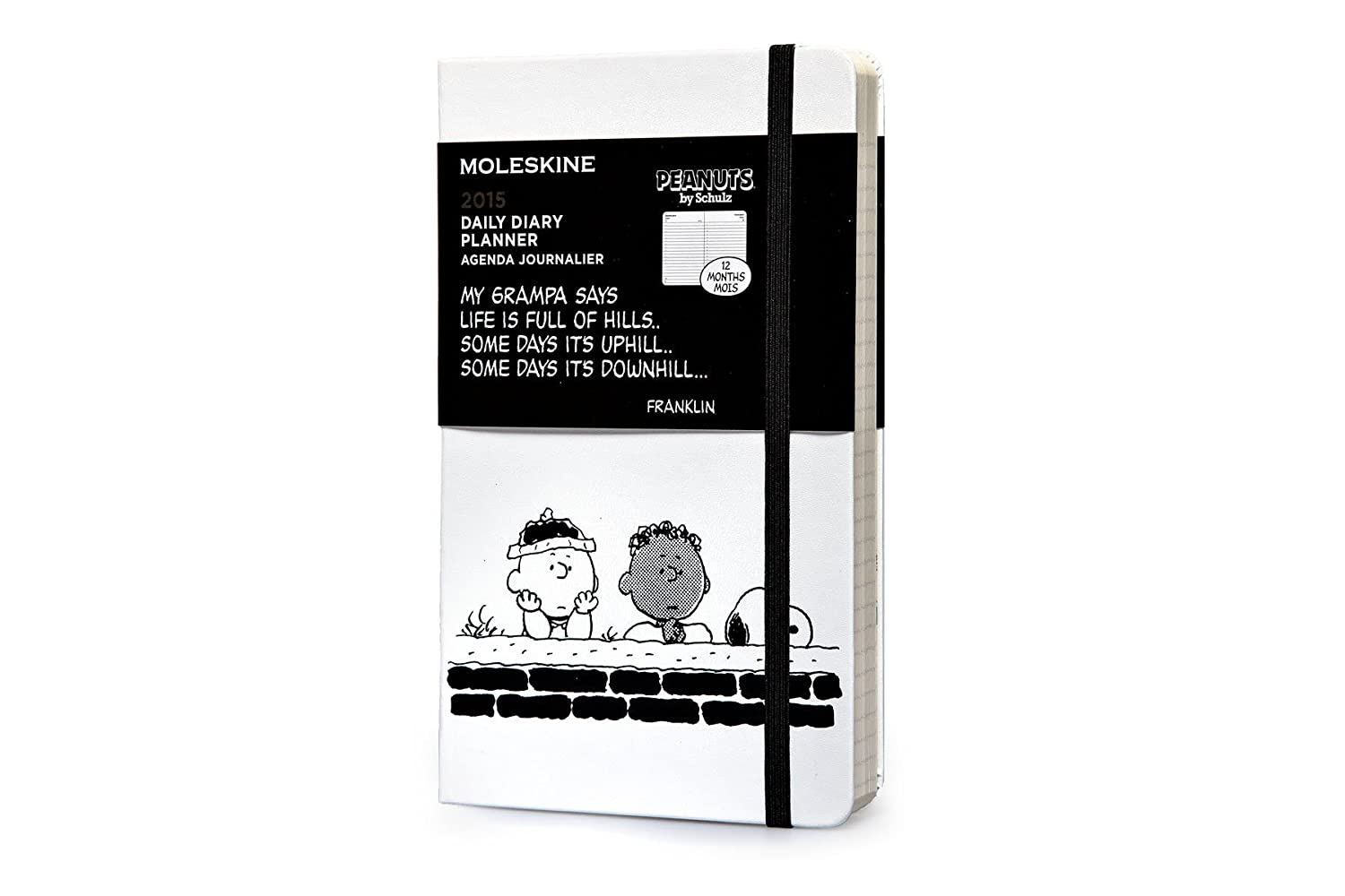 Moleskine 2015 Peanuts Limited Edition Daily Planner, 12 Month, Large, White, Hard Cover (5 x 8.25)