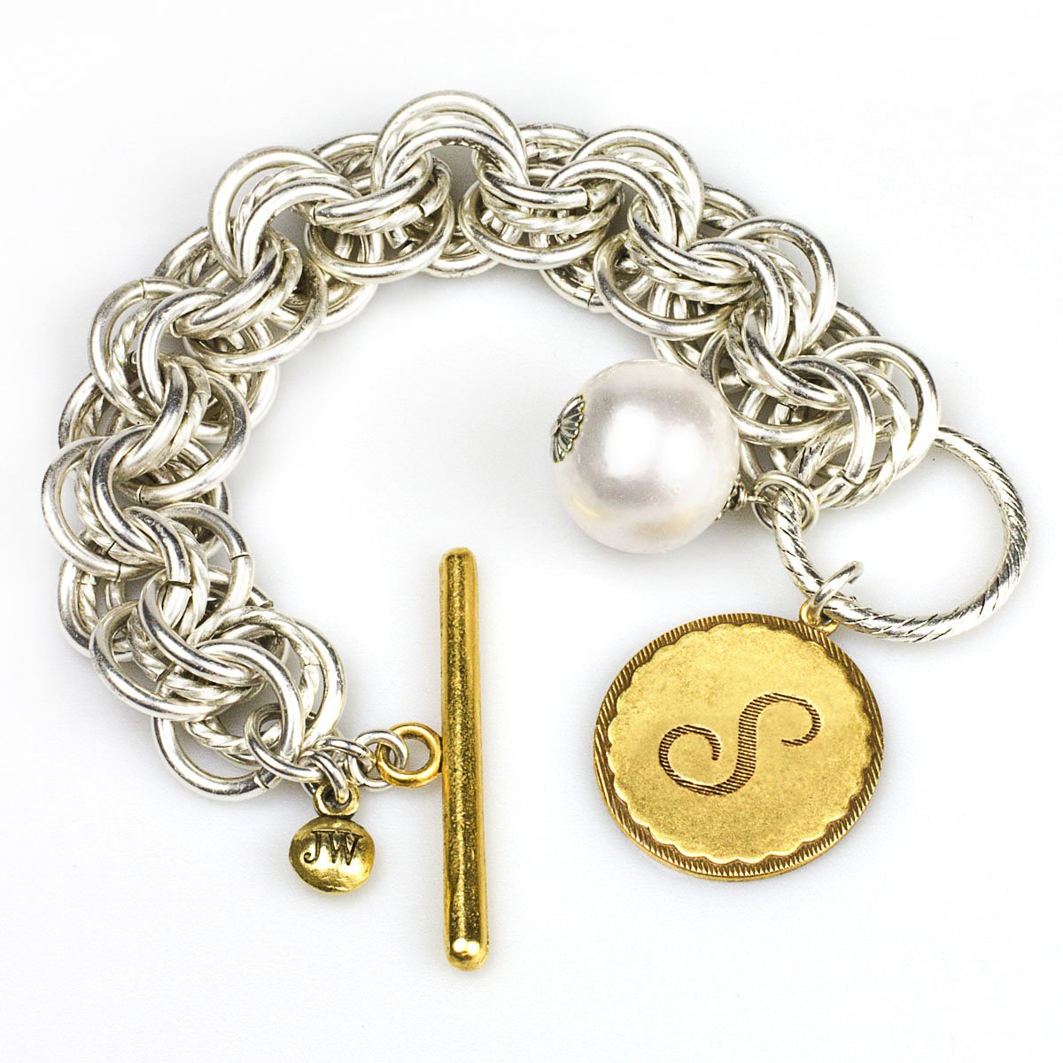 Collector's Sorority Gal Initial S Bracelet in Two-Tone with Pearl, 8-8.5''