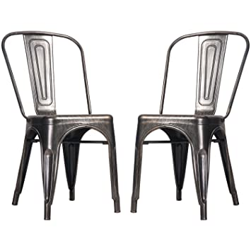 Amazoncom Merax High Back Steel Stackable Vintage Metal Dining - Metal dining room chairs