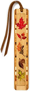 product image for Fall Leaves - Autumn - Engraved with Color Wooden Bookmark with Suede Tassel - Search B0716J8HF3 to See Personalized Version