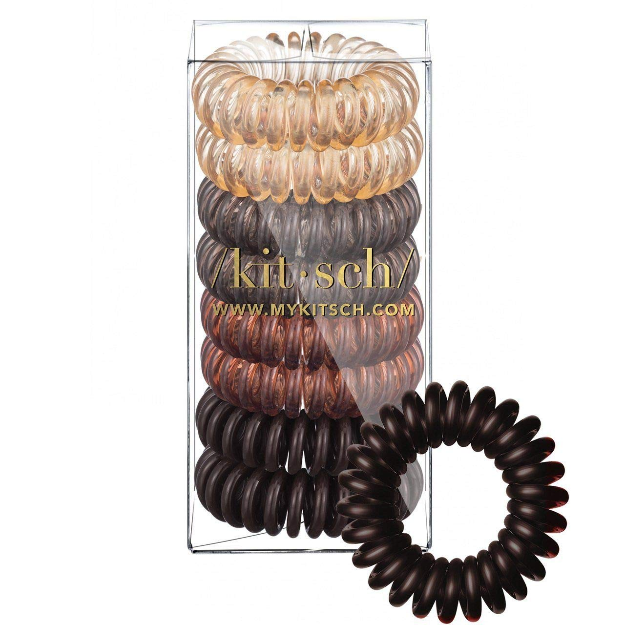 Kitsch Spiral Hair Ties, Coil Hair Ties, Phone Cord Hair Ties, Hair Coils – 8pcs, Brunette