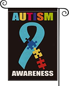 AVOIN Autism Awareness Garden Flag Vertical Double Sized, Puzzle Piece Inspirational Support Yard Outdoor Decoration 12.5 x 18 Inch