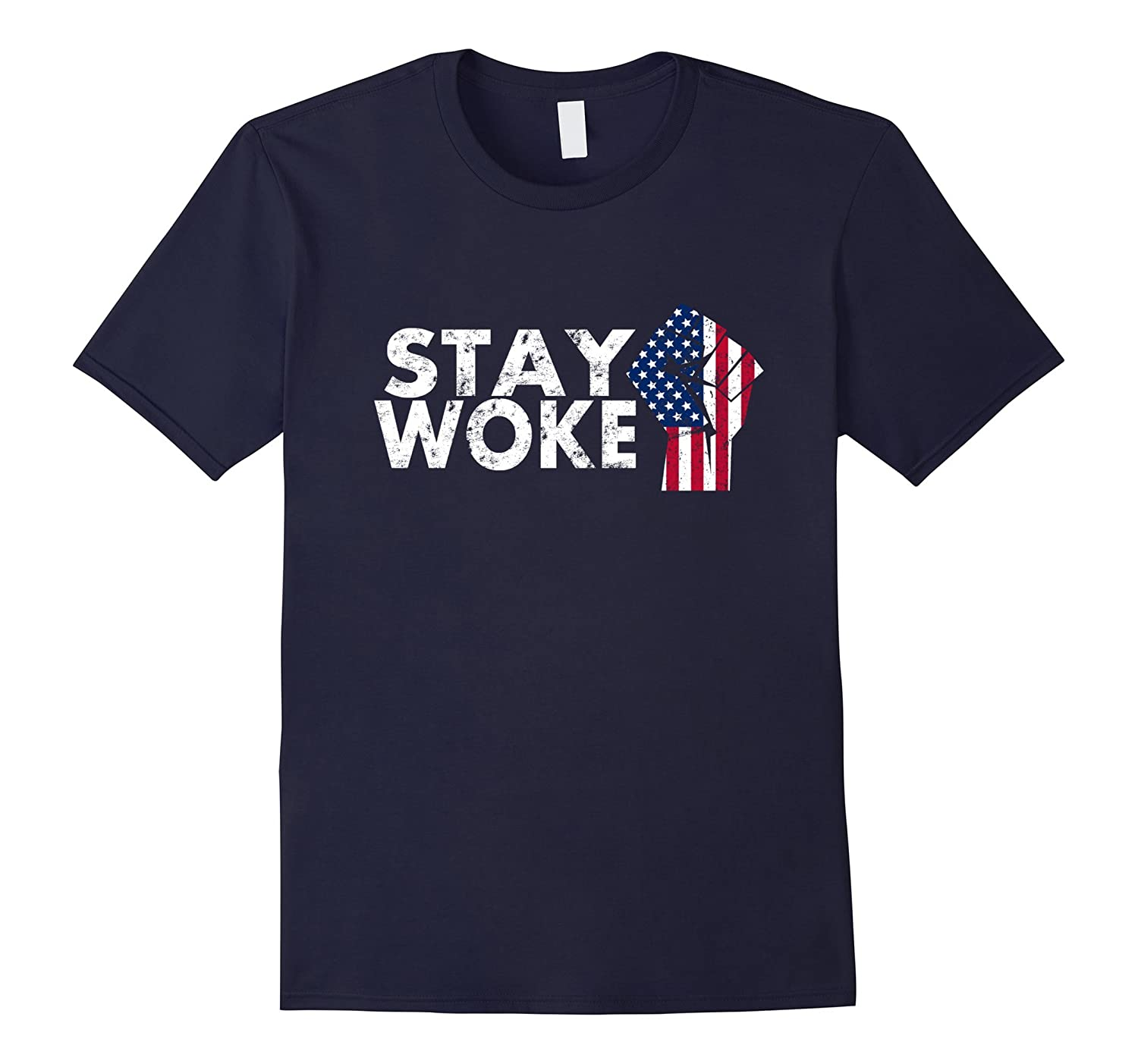 Distressed Stay Woke Protest T-Shirt-TH