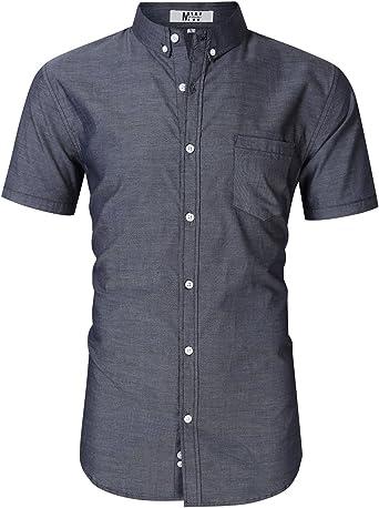 Camisas de vestir para hombre de manga larga de ajuste regular camisa Oxford: Amazon.es: Ropa y accesorios