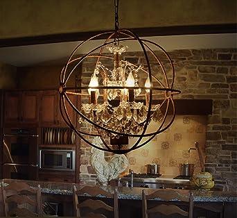 Aiwen Globe Crystal Chandeliers Pendant ( Bulbs not Included ) Rust ...